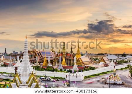 Bangkok, Thailand at the Temple of the Emerald Buddha and Grand Palace. - stock photo