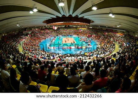 BANGKOK,THAILAND-AU GUST15:Unidentified view of Indoor Stadium Huamark during the FIVB World Grand Prix Thailand and Dominican Republic at Indoor Stadium Huamark on Aug.15, 2014 in Thailand. - stock photo