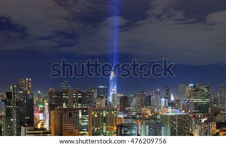 BANGKOK -THAILAND - AUG 29: Panorama of Mahanakhon bangkok rising lightshow, Cityscape at night in Bangkok on August 29, 2016 in Bangkok, Thailand
