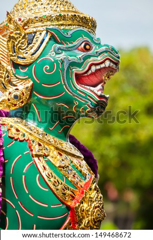 BANGKOK, THAILAND - AUG 14: Particular of the Thai Royal Barge, A royal barge is used by a monarch for processions and transport in a river, on August 14, 2011 in Bangkok, Thailand - stock photo