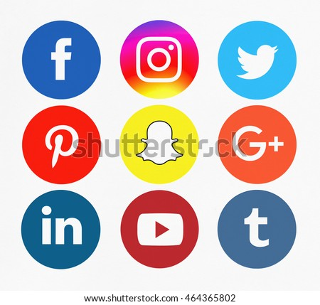 Bangkok, Thailand - Aug 5, 2016 - Set of popular social media sharing icons : Facebook icon, Instagram, Twitter, Pinterest, Google Plus icon, Linkedin, Youtube, Snapchat and Tumblr. Printed on paper.