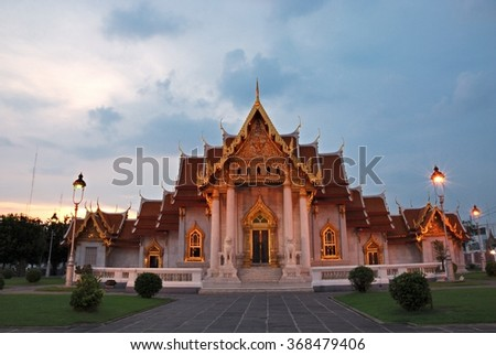 Bangkok,THAILAND - AUG 26: 2010. Sundown Time Wat Benchamabophit Dusitvanaram (The Marble Temple) is a Buddhist temple in the Dusit district of Bangkok, on AUG 26, 2010 in Bangkok, Thailand. - stock photo