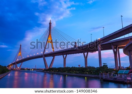 BANGKOK,THAILAND-AUG 5:The Bhumibol Bridge also known as the Industrial Ring Road is the important way for connect Bangkok with Samut Prakan Province at Bangkok on August 5, 2013 in Bangkok,Thailand.