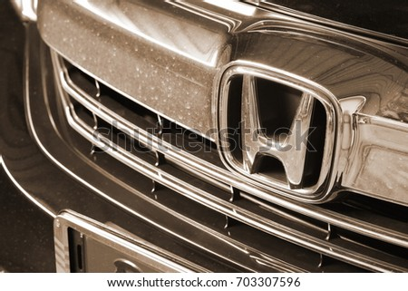 BANGKOK, THAILAND - AUG, 25: The japanese car logo of Honda on the front grill car part, represents the  favorite automotive brand in thailand on August 25, 2017 in Bangkok, Thailand.