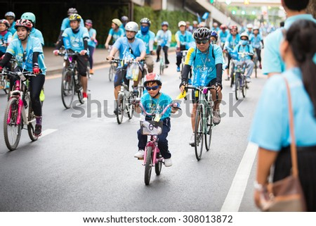 "Bangkok,THAILAND, AUG 16-2015 : This event is ""Bike for mom "" from Thailand. Bike for mom event show respected to Queen and make Thailand's cyclists set record for world's biggest bike ride."