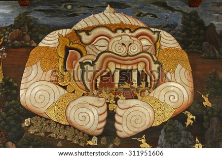 BANGKOK - THAILAND - August 29: A scene from the Ramakien in Wat Phra Kaew, BANGKOK - AUGUST 29 : Thai Mural Painting in sanctuary Wat Phra Kaew on AUGUST 29,2015 Bangkok Thailand - stock photo