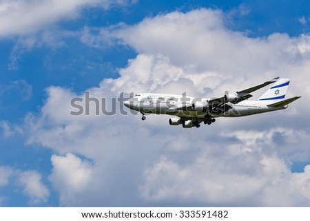 BANGKOK, THAILAND - AUGUST 25: An El Al Israel Airlines Boeing 747 approaching to Airport on August 25, 2015 in Bangkok, Thailand - stock photo
