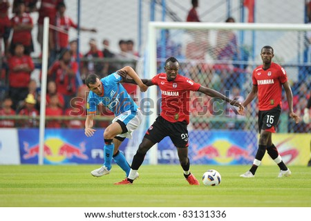 BANGKOK, THAILAND- AUGUST 20: Dagno Siaka of MTUTD in action during Thai Premier League (TPL) between TOT SC and Muangthong United on August 20, 2011 at TOT Stadium in Bangkok, Thailand