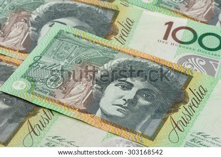BANGKOK, THAILAND - AUGUST 04, 2015: Details of Australian one hundred dollar bill. - stock photo