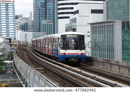 BANGKOK, THAILAND - AUGUST 31, 2016 : Electric sky train, transportation system in Bangkok, Thailand