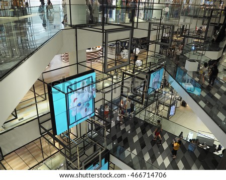BANGKOK THAILAND - AUGUST 7, 2016: Interior in Siam Discovery. It is community mall in Bangkok, Thailand.