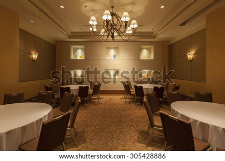 Bangkok, Thailand - August 8, 2015: Interior of a hotel restaurant at Miracle Grand Convention Hotel. - stock photo