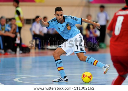 BANGKOK,THAILAND AUGUST24:Jesus Aicardo (blue) of Spain in action during Friendly match between Thailand and Spain at Nimibutr Stadium on August24,2012 in Bangkok Thailand