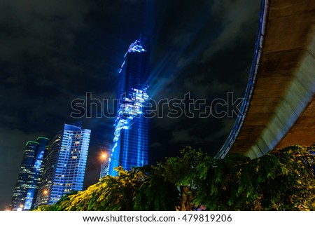 Bangkok,Thailand - August 29 , 2016 : Lighting show in Grand opening  Mahanakhon tower in night time. New highest building landmark in Thailand