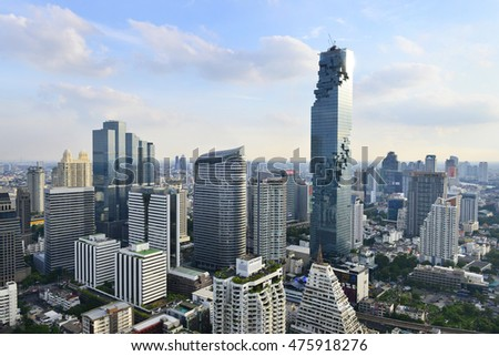 BANGKOK, Thailand -August 28, 2016: Mahanakhon is the new highest building in Bangkok. It is the commercial complex with office rental area, luxurious condominium and shopping mall.