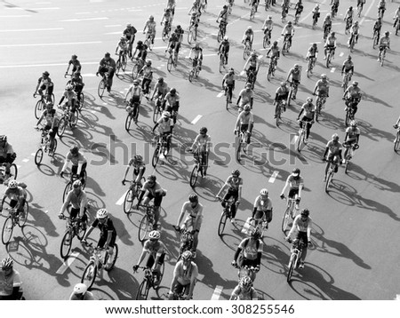 BANGKOK, THAILAND - AUGUST 16, 2015: People cycling together in the event BIKE FOR MOM in Bangkok, Thailand