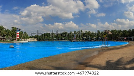 Bangkok,Thailand - August 06,2016 : People enjoy on World largest wave pool at Siam park amusement in Bangkok, Thailand.