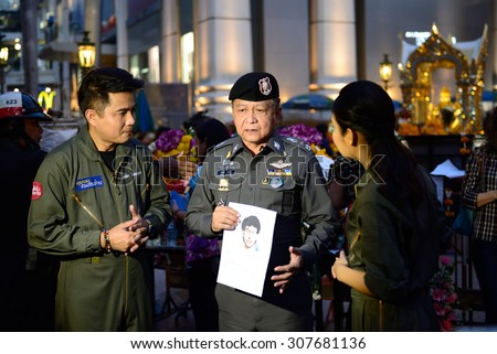 Bangkok, Thailand, August 19 2015: Pol.Lt.Gen.Dr.Prawut Thavornsiri Assistant Commission - General of Thailand inform sketch picture of bomb suspect at the Erawan shrine. - stock photo