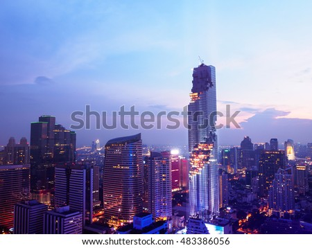 Bangkok - Thailand 28 August, 2016 : Pre - MahaNakhon Bangkok rising lightshow, Bangkok view MahaNakhon is the new highest building in Bangkok.