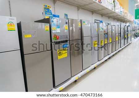 Bangkok, Thailand - August 6, 2016: Row of Refrigerator in Hypermarket store.Thailand is one of the leading Manufacturer of refrigerator in the Asian region.
