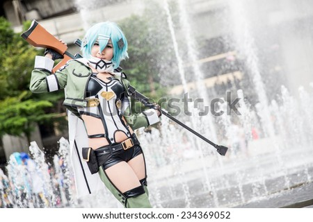 BANGKOK, THAILAND - AUGUST 31: Thai cosplayers dress as the characters from cartoon and game in Bangkok on August 31, 2014 An unidentified Japanese anime cosplay at Central World in Thailand.