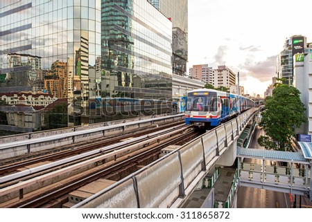 Bangkok, Thailand - August 18, 2015: The Bangkok Mass Transit System, known as BTS or Skytrain, is an elevated rapid transit system in Bangkok. The system consists of 34 stations along two lines.