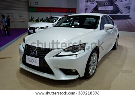 BANGKOK, THAILAND - AUGUST 6: The Lexus IS300h is on display at the Bangkok International Grand Motor Sale 2015 at Bitec on August 6, 2015 in Bangkok, Thailand.