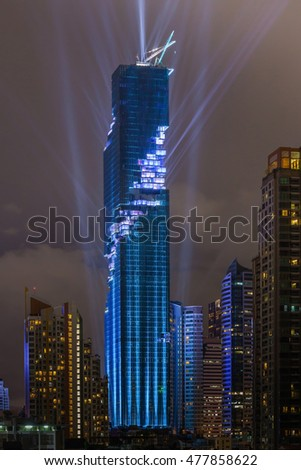 Bangkok, Thailand- August 29, 2016: The light and sound show of officially grand opening Mahanakhon building, is the tallest building in Thailand.
