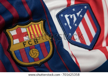 Bangkok thailand august 23 logo real 701625358 shutterstock bangkok thailand august 23 the logo of real madrid barcelona and atletico voltagebd Image collections
