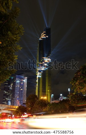 BANGKOK, Thailand - August 29, 2016: The Night of Lights with MahaNakhon Rising for grand opening show of the building. Mahanakhon is an officially Bangkok's tallest building in Thailand