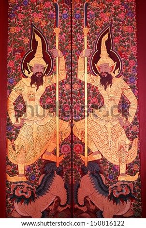BANGKOK, THAILAND - AUGUST 17 : Traditional Thai ancient painting art on wood door at Wat Mahathat Yuwaratrangsarit on August 17, 2013 in Bangkok, Thailand