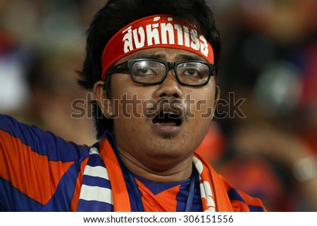 BANGKOK THAILAND-AUGUST 12:Unidentified fans of Thai Port Fc supporters during Chang FA Cup 2015 between Army United F.C.and Thai Port Fc at Thai Army Stadium on August 12,2015in Thailand