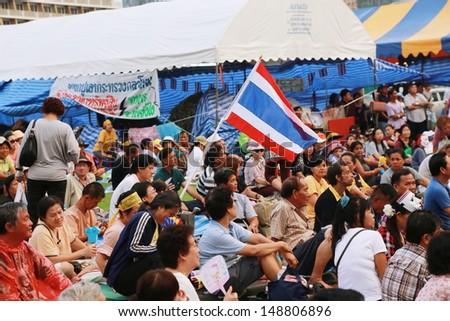 BANGKOK,THAILAND-AUGUST 5 : Unidentified people from anti-government group called Pitak Siam gather  at Lumphini Park on August 5, 2013 in Bangkok, Thailand. - stock photo