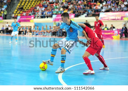 BANGKOK THAILAND - AUGUST 24 : Unidentified player in Friendly futsal match Between Thailand VS Spain at Nimibutr Stadium on August 24,2012 in Bangkok,Thailand.