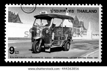 Bangkok, Thailand - Circa 2010: A Thai postage stamp printed in Thailand depicting a Thai Tuk-Tuk, circa 1997 - stock photo