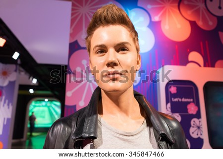 BANGKOK, THAILAND - CIRCA August, 2015: Wax figure of the famous Justin Bieber from Madame Tussauds, Siam Discovery, Bangkok