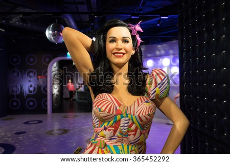 BANGKOK, THAILAND - CIRCA August, 2015: Wax figure of the famous Katy Perry from Madame Tussauds, Siam Discovery, Bangkok - stock photo