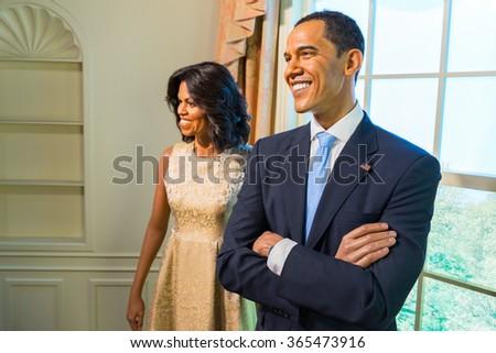 BANGKOK, THAILAND - CIRCA August, 2015: Wax figure of the President Barack Obama from Madame Tussauds, Siam Discovery, Bangkok - stock photo