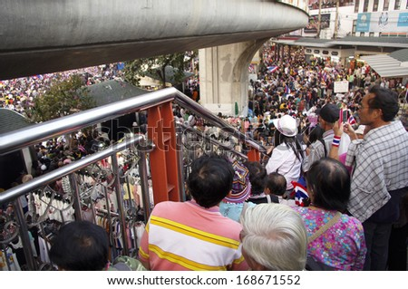 BANGKOK, THAILAND- DEC 22, 2013: Anti-government protesters in Bangkok, Thailand. The protest Against The government in Bangkok, capital of Thailand - stock photo
