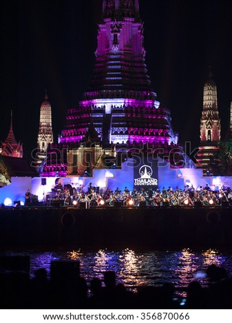 BANGKOK, THAILAND - Dec 30, 2015: Beautiful light mapping backdrop on the Wat Arun  .Thailand Countdown 2016.