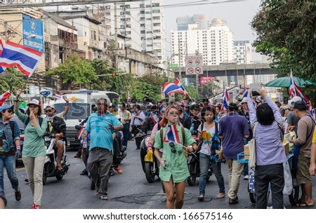 BANGKOK,Thailand - December 9,2013 : A protester joins an anti-government rally Thailand. at Bangkok,Thailand