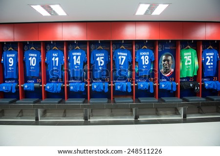 BANGKOK,THAILAND-DECEMBER 05:Athletic dressing rooms team of Team Cannavaro during the Global Legends Series match, at the SCG Stadium on December 5, 2014 in Bangkok, Thailand. - stock photo