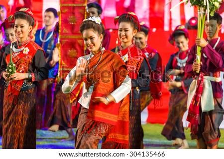 "BANGKOK, THAILAND - DECEMBER 19: Bon-Odori Festival in Bangkok, Thailand on December 19, 2014. Participants in ""Bon"" festival, held annually to celebrate the relationship between Thailand and Japan - stock photo"