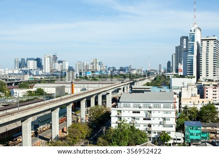 Bangkok, Thailand - December 31, 2015 : Daytime of Bangkok city. Bangkok is the capital and the most populous city of Thailand and railroad BTS.