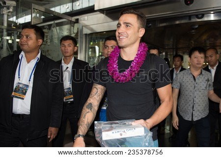 BANGKOK, THAILAND - DECEMBER 03: Fabio Cannavaro (R)arrives in the lead up to the  Global Legends Series, at suvarnabhumi airport, on Dec 3, 2014 in Bangkok, Thailand - stock photo