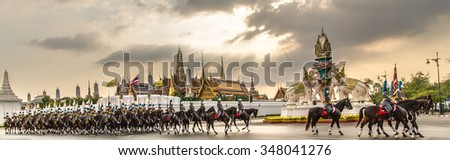 BANGKOK, Thailand, December 3 grand military parade king's bodyguard Thailand on the occasion of the birthday king of Thailand.  weather was overcast sky  on December 3, 2015 in Bangkok, Thailand. - stock photo