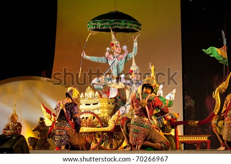 BANGKOK, THAILAND - DECEMBER 5 : Khon - Thai classical masked play on H.M. the king Bhumibol's birthday celebration, in dust throne-hall field, December 5, 2010 in Bangkok, Thailand