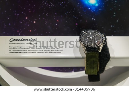 BANGKOK, THAILAND - DECEMBER 20: NASA Exhibition in Bangkok, Thailand on December 20, 2014. The Omega Speedmaster watch which were actually worn in the space in NASA missions - stock photo