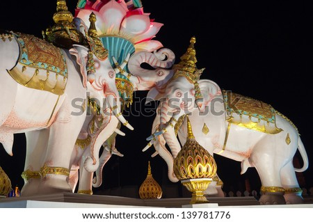 BANGKOK, THAILAND DECEMBER 3: Pink Elephant statue near The Grand Palace on December 3, 2012, in Bangkok, Thailand. The palace has been the official residence of the Kings of Siam since 1782