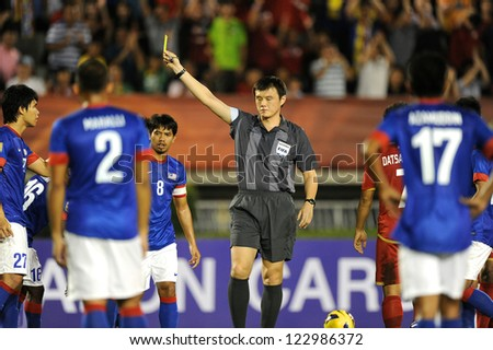 BANGKOK THAILAND-DECEMBER 13:Referee Lee Minhu of Korea Republic in action during the AFF Suzuki Cup between  Malaysia and Thailand at Supachalasai stadium on Dec 13, 2012 in Bangkok,Thailand.